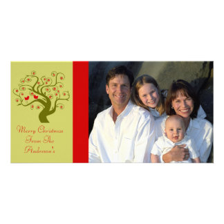 Swirl Tree Cute Birds Snowflake Merry Christmas Photo Card