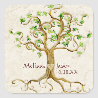 Swirl Tree Roots Antiqued Family Reunion Invite Square Sticker