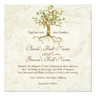 Swirl Tree Roots Antiqued Green Parchment Wedding 13 Cm X 13 Cm Square Invitation Card
