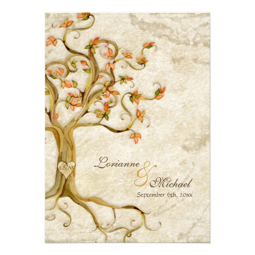 Swirl Tree Roots Antiqued Parchment Monogrammed Personalized Invitations