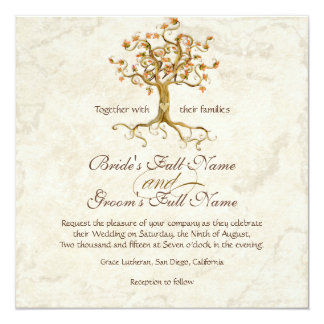 Swirl Tree Roots Antiqued Parchment Wedding 13 Cm X 13 Cm Square Invitation Card