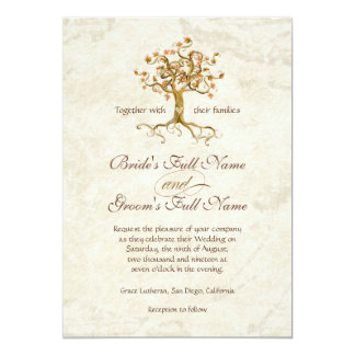 Swirl Tree Roots Antiqued Parchment Wedding 13 Cm X 18 Cm Invitation Card
