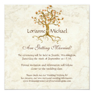 Swirl Tree Roots Antiqued Parchment Wedding Save 13 Cm X 13 Cm Square Invitation Card