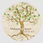 Swirl Tree Roots Antiqued Personalised Names Heart Round Sticker