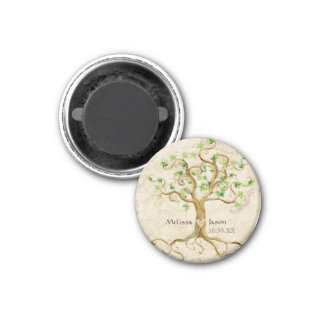 Swirl Tree Roots Antiqued Personalized Names Heart Magnet
