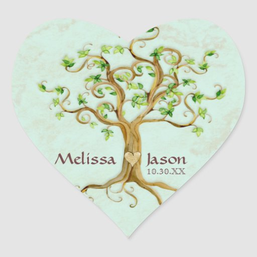 Swirl Tree Roots Antiqued Personalized Names Heart Stickers