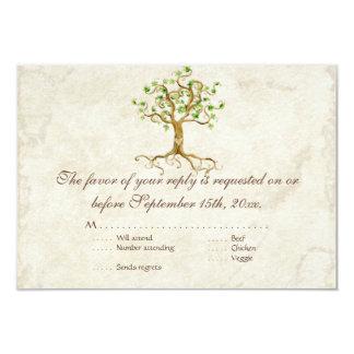 Swirl Tree Roots Antiqued RSVP Response Card 9 Cm X 13 Cm Invitation Card