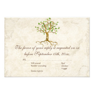 Swirl Tree Roots Antiqued RSVP Response Card Invites