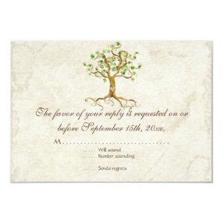 Swirl Tree Roots Antiqued Sage RSVP Response Card 9 Cm X 13 Cm Invitation Card