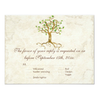 Swirl Tree Roots Antiqued Sage RSVP Response Card 11 Cm X 14 Cm Invitation Card