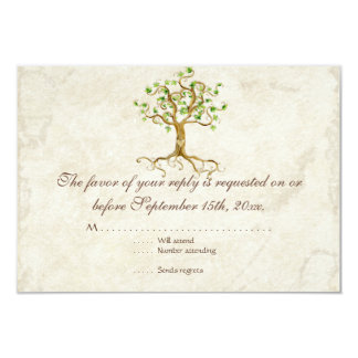 Swirl Tree Roots Antiqued Tan RSVP Response Card