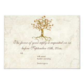 Swirl Tree Roots Antiqued Tan RSVP Response Card 9 Cm X 13 Cm Invitation Card