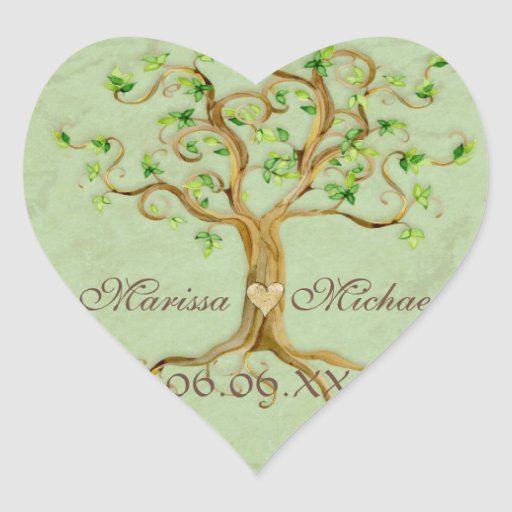 Swirl Tree Roots Antiqued Wedding Matching Seals Stickers