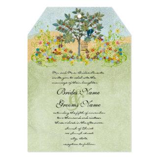 Swirled Flower Love Birds Tree Wedding Invitation