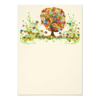 Swirled Flower  Love Tree blank card 13 Cm X 18 Cm Invitation Card