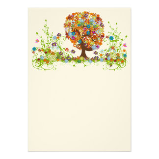 Swirled Flower Love Tree blank card Personalized Invite