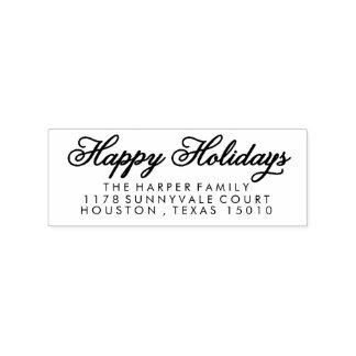 Swirled Happy Holidays Return Address Stamp