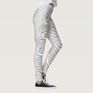 Swirled Paisley Doodle in Any Color Leggings