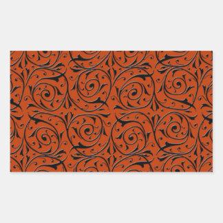 Swirling Black Vines on Copper Orange Rectangular Sticker