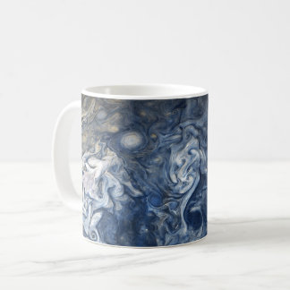 Swirling Blue Clouds of Planet Jupiter Juno Cam Coffee Mug
