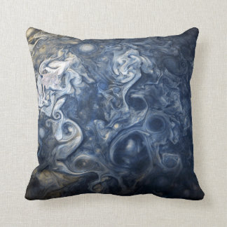 Swirling Blue Clouds of Planet Jupiter Juno Cam Cushion