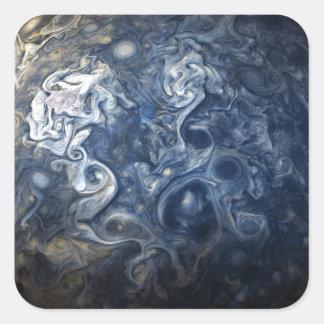 Swirling Blue Clouds of Planet Jupiter Juno Cam Square Sticker