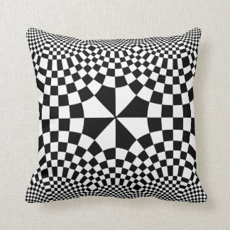 Swirling Checkers Optical Illusion Black & White Cushion