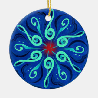 Swirling Clefs and Colorful Keyboard Circle Ceramic Ornament