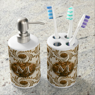 Swirling Dots in Sparkling Champagne & Gold Toothbrush Holder