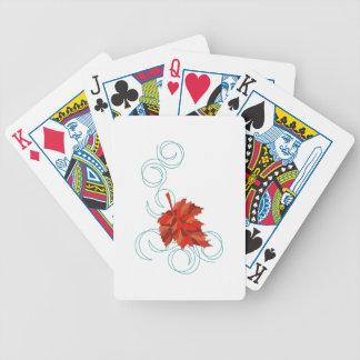Swirling Fall Leaf Bicycle Playing Cards