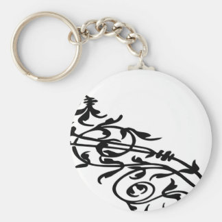 Swirling Floral Basic Round Button Key Ring