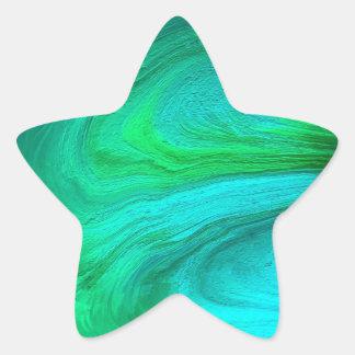 Swirling Green Abstract Art Star Sticker