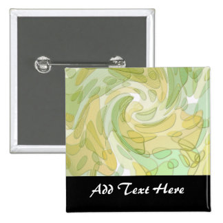 Swirling Green Yellow Abstract Art Pins