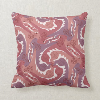 Swirling Hares Tesselation Soft red Pillow 8