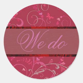 Swirling Hearts Wedding Vows Sticker/Seal Round Sticker