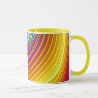 Swirling Liquid Glass (1) Glowing Yellows & Violet Mug