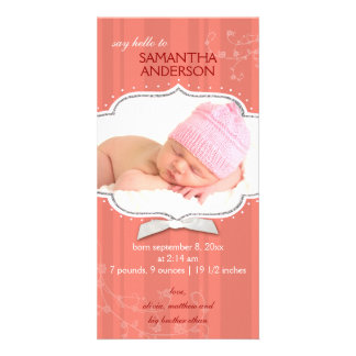Swirling Stripe Baby Girl Photo Birth Announcement Personalised Photo Card