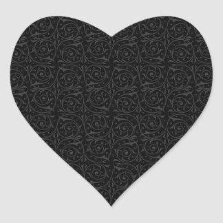 Swirling Vines in Black and Grey Heart Sticker