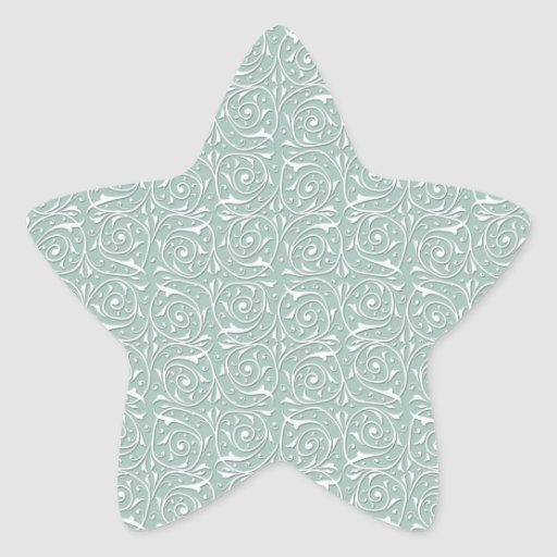 Swirling Vines in Pale Sage Green and White Star Stickers