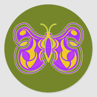 Swirling Vintage Butterfly Classic Round Sticker