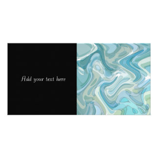 Swirling Water Abstract Art Turquoise Personalized Photo Card