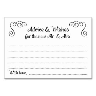 Swirls Advice and Wishes Wedding Cards Table Cards
