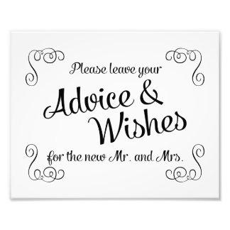 Swirls Advice and Wishes Wedding Print