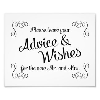 Swirls Advice and Wishes Wedding Print Photo