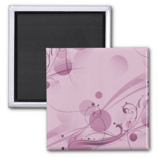 SWIRLS AND CIRCLE DOTS LIGHT PINK SQUARE MAGNET