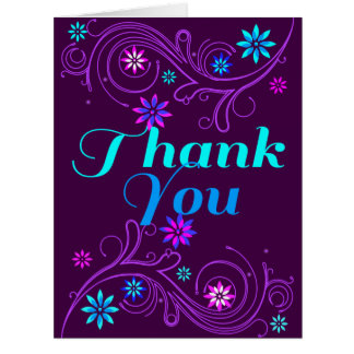 Swirls And Daisies Maroon Thank You Card
