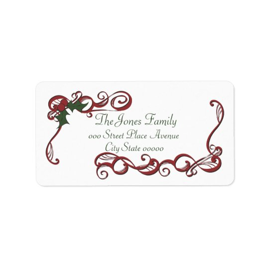 Swirls and Holly Address Label