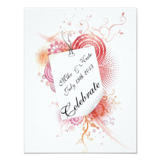 Swirls and Lace With Love 11 Cm X 14 Cm Invitation Card