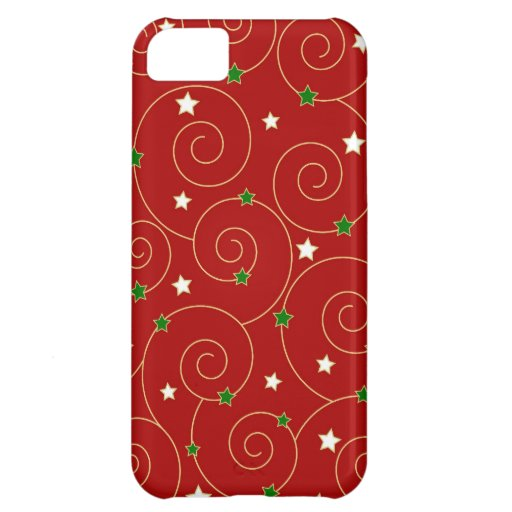 Swirls and stars on red iPhone 5C covers