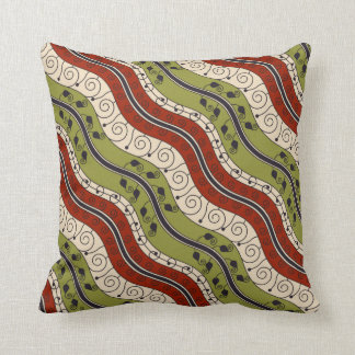 Swirls and Waves in Red, Green and Cream Cushion